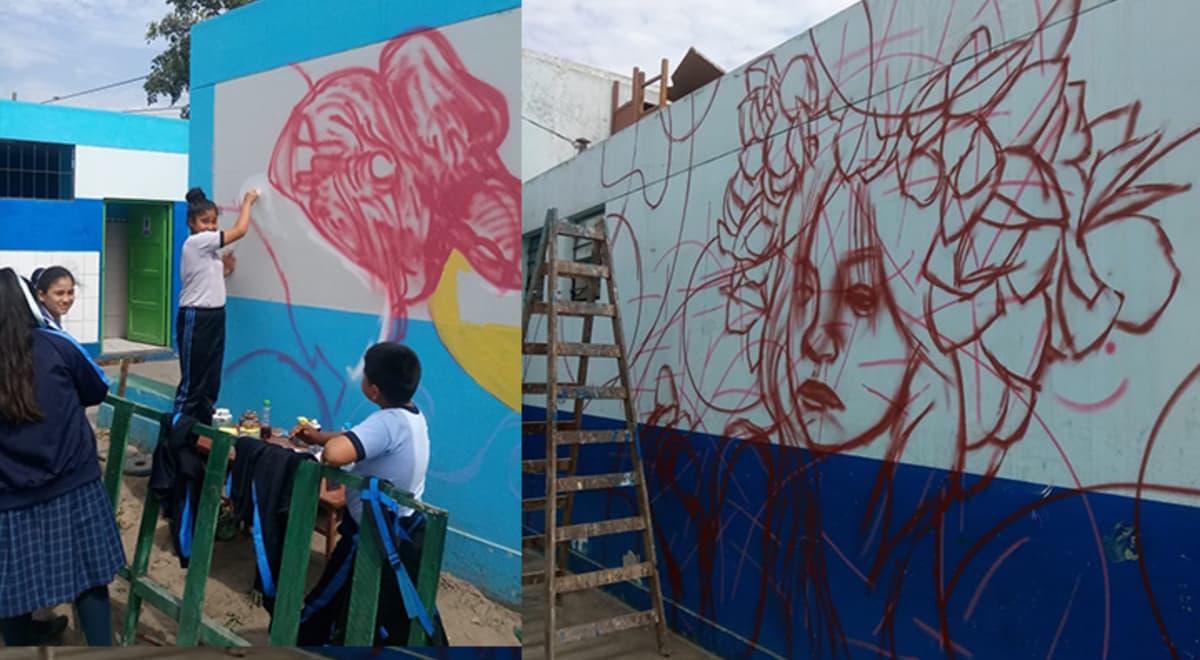 Callao Escolares Pintan Murales Artisticos En Paredes De Colegio