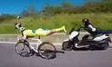 YouTube: Ciclista hace maniobra de 'Superman' y sorprende a sus adversarios