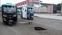 #YoDenuncio: alarma por agujero en pista cerca de colegio en Villa El Salvador