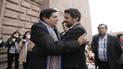 Candidatos Boluarte y Pantoja se dieron abrazo fraterno en la Catedral de Cusco [VIDEO]