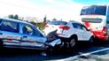 Registran choque múltiple entre bus y autos particulares en Casma