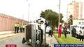 Cercado de Lima: camioneta quedó volcada tras chocar contra berma [VIDEO]