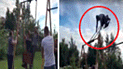 Facebook viral: logra dar la vuelta completa al columpio, pero sufre terrible accidente [VIDEO]