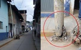 #YoDenuncio: poste de alumbrado inclinado podría caer sobre vivienda