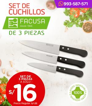 Cuchillos Facusa - Set x3- Mango plástico