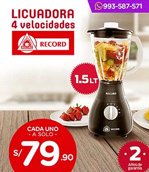 Licuadora Record 4 Veloc. 1.5 Lt.