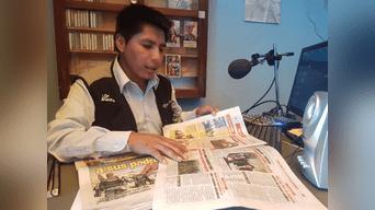 Jaime Condori, periodista de Radio Onda Azul, de Puno