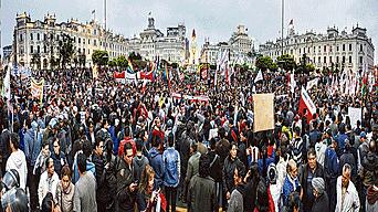 Los manifestantes se congregaron en la Plaza San Martín y recorrieron las avenidas Nicolás de Piérola, Garcilaso de la Vega, Paseo Colón, Abancay.