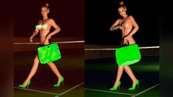 En las fotos replicadas en las redes sociales muestran a Iggy Azaleara caminando desnuda en una cancha de tenis con tacones verdes fosforescentes.