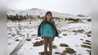Niña Marielena Lahuanampa pide apoyo para proteger a sus animales del intenso frío.