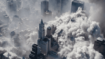 Vista aérea tras el atentado terrorista a las Torres Gemelas.