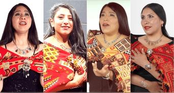 Ellas son SOPRANOS INKAS: Sara Barreto, Almendra Lasteros, Sonia Ccahuana y Gladis Huamán.