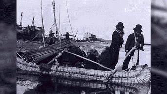 Indios viajeros en el puerto de muelle 1940
