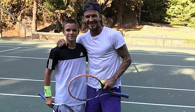 Resultado de imagen para David y Victoria Beckham construyen cancha de tenis en su mansión para su hijo Romeo
