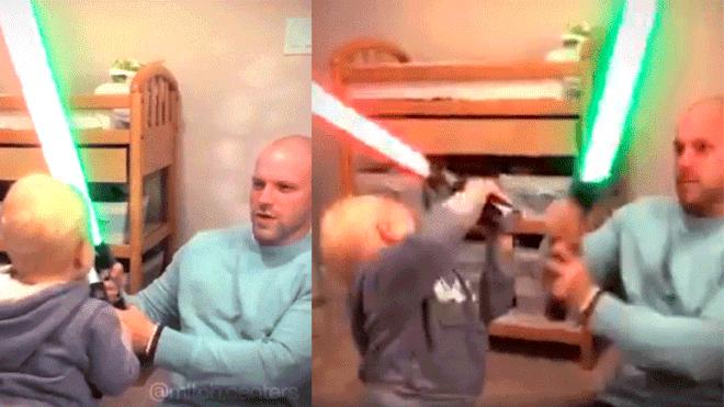 Facebook: fans de Star Wars sorprendidos por bebé que imita trágica escena de la película [VIDEO]