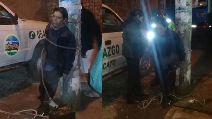 Ladrón de autopartes es atado a un poste por vecinos en Arequipa