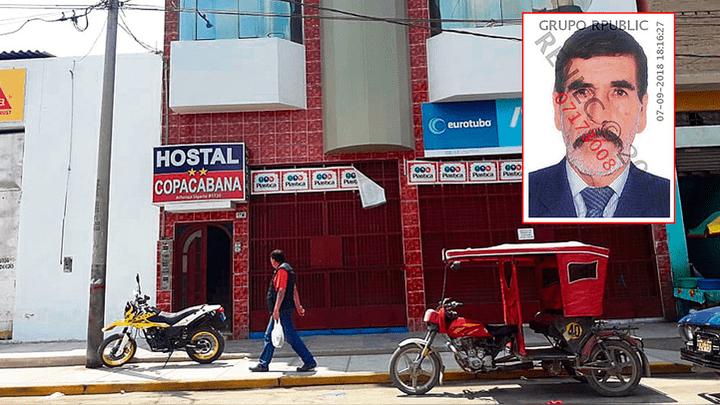 Víctima. El empresario Gilberto Imaña Núñez (71) fue encontrado sin vida por su esposa e hijo al interior de una habitación del cuarto piso del hostal Copacabana. Local no contaba con cámaras de seguridad en interiores ni exteriores. Policía investiga el
