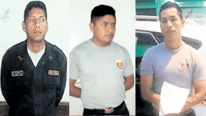 De izquierda a derecha: el suboficial de tercera Miguel Rivera Córdova, el suboficial de tercera Walter Salazar Salcedo y el suboficial de segunda Efraín Vera Camargo.