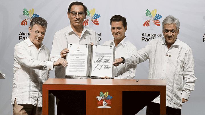 ALIANZA DEL PACÍFICO. Presidente Vizcarra con Santos, Peña Nieto y Piñera, en la última reunión. Podría haber más.