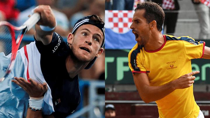 Diego Schwartzman le dio el primer punto a Argentina en la Copa Davis después de vencer al colombiano Santiago Giraldo.