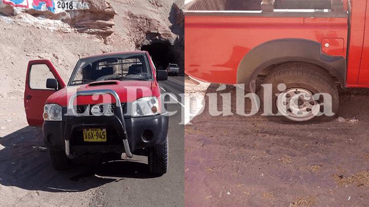 Una camioneta resultó afectada por el deslizamiento de rocas