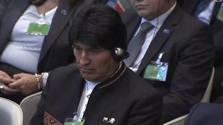 Evo Morales durante la lectura del fallo de la Corte de la Haya.